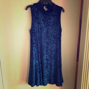 Lulus blue velvet swing dress